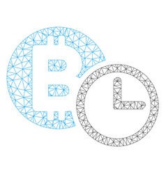 Bitcoin credit clock mesh wire frame model vector
