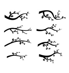 Black tree branch silhouettes vector