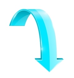Blue down arrow Curved shape vector