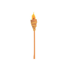 Burning beach bamboo torch cartoon vector