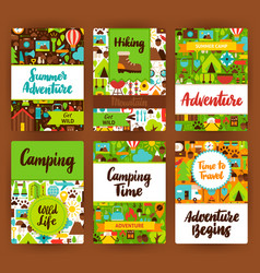 camping invitation template set vector image