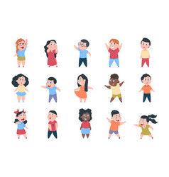 cartoon children boy and girl school characters vector image