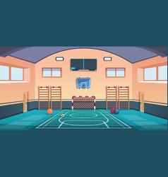 cartoon school court gym with basketball basket vector image