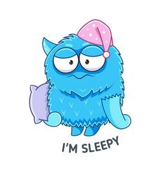 Cartoon sleepy monster with pillow sticker vector