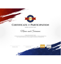 certificate template in rugby sport theme with vector image