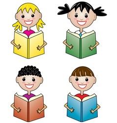 children holding books vector image