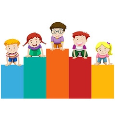 Children on bar chart vector image