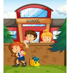 Children skipping from school vector