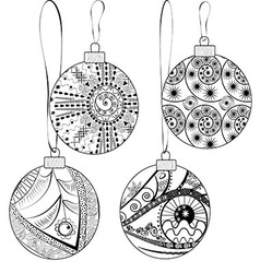 Christmas balls with graphic abstract ornament vector