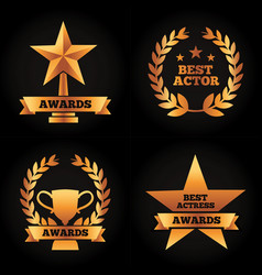 Collection gold trophies star cup laurel awards vector