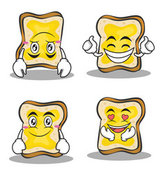 Collection set bread character cartoon vector