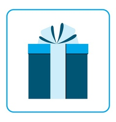 Colorful wrapped gift box icon blue vector image