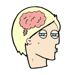 Comic cartoon man thinking carefully vector