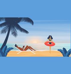 couple people sunbathe on tropical summer sea vector image