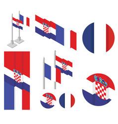 Croatiafrance national flag vector