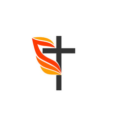 Cross jesus flame fire vector