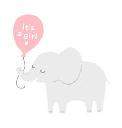 Cute elephant with a pink balloon for baby shower vector