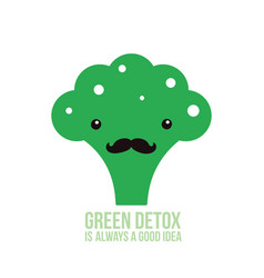 cute green broccoli healthy food vector image