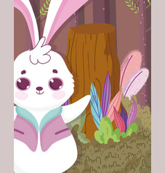 cute rabbit forest character vector image