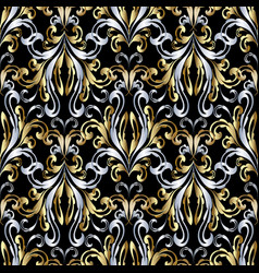 damask baroque gold silver seamless pattern vector image