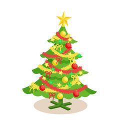 decorated christmas spruce vector image