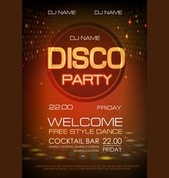 disco ball background neon sign disco party vector image