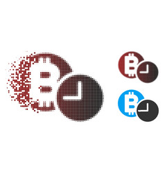 Dispersed pixel halftone bitcoin credit clock icon vector