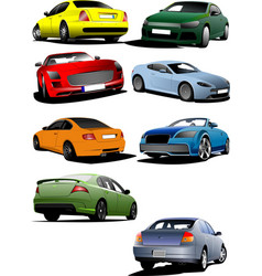 Eight cars on the road vector