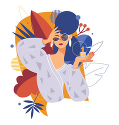 Fashion and beauty with woman an nail vector