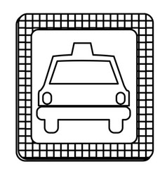 Figure border taxi front car icon vector
