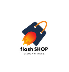 flash shop logo design template fast sale icon vector image