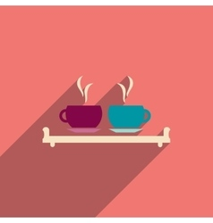 flat icon with long shadow couple cups vector image