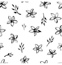 flowers seamless hand drawn pattern grunge style vector image