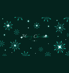 full hd green shine snowflakes and stars elements vector image