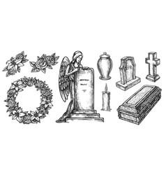 Funeral ritual service attribute sketch set vector