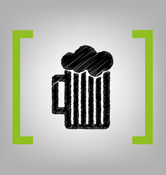 Glass of beer sign black scribble icon in vector