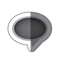 grayscale sticker of oval speech with tail in vector image