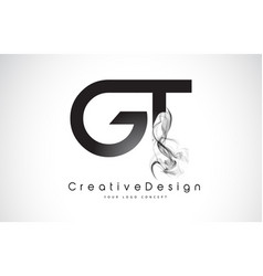 Gt letter logo design with black smoke vector