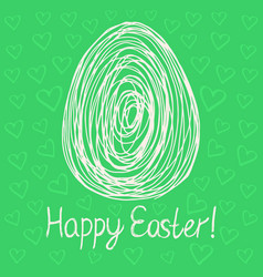 happy easter egg sketch on green background vector image