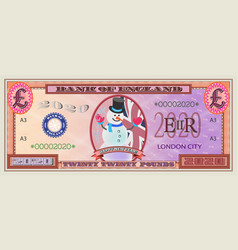 happy new year 2020 red pound banknote vector image