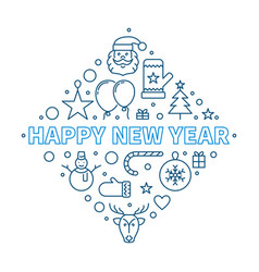 happy new year concept outline creative vector image