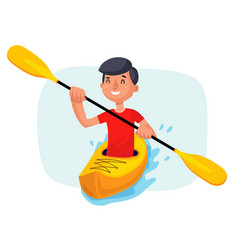 Kayaking paddling on boats having fun vector
