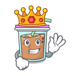 King bubble tea mascot cartoon vector