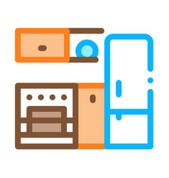 kitchen with fridge icon outline vector image