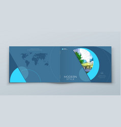 landscape cover with minimal blue geometric design vector image