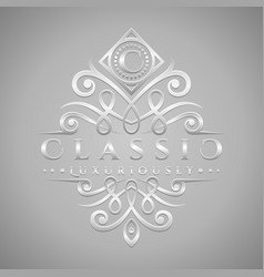Letter c logo - classic luxurious silver vector