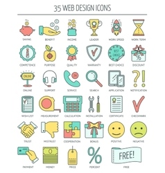 Linear web icons Color moder line icons for vector