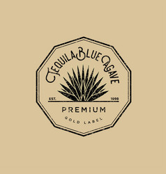 Logo tequila gold label vector