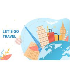luggage and landmarks around globe vector image
