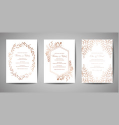Luxury wedding save the date invitation cards vector